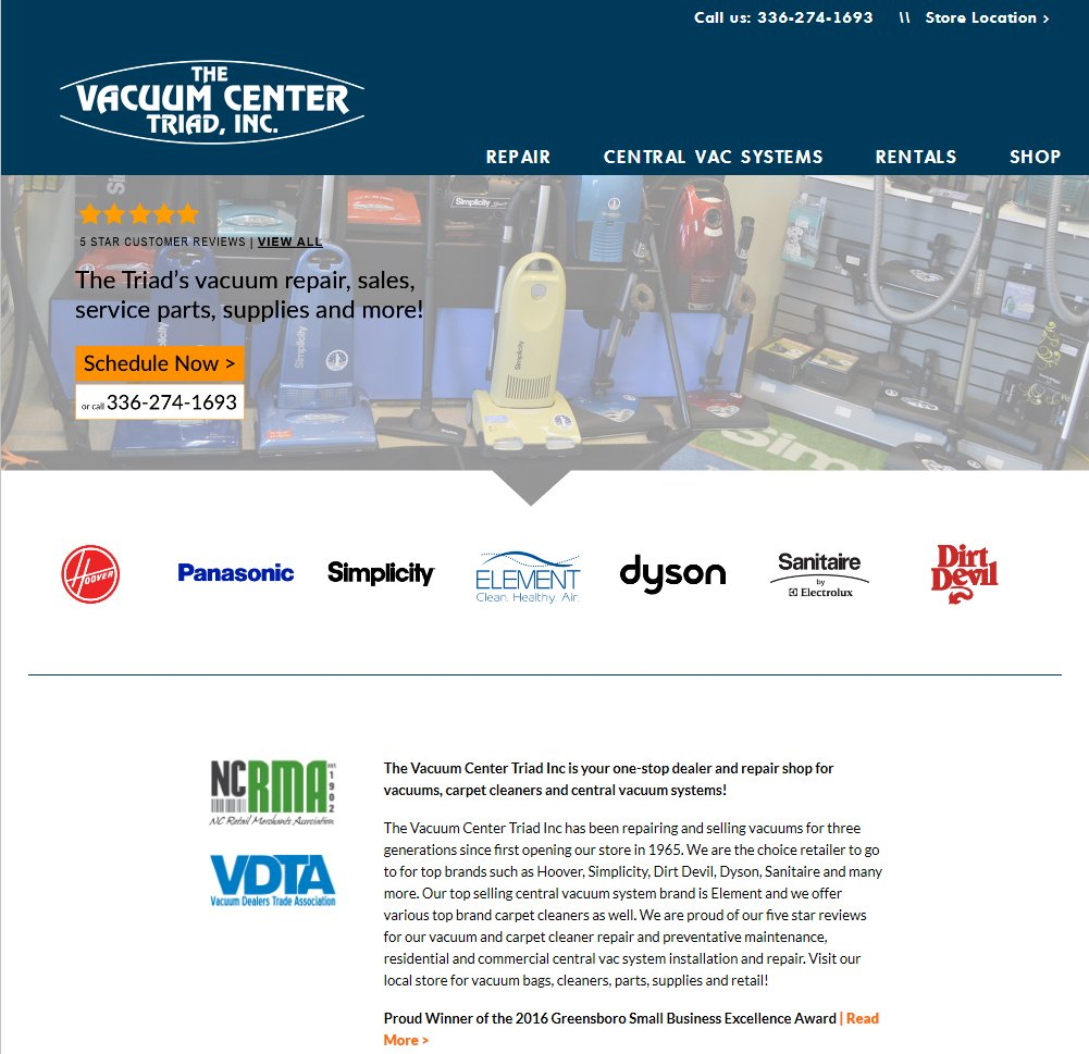 New website design and build The Vacuum Center Triad